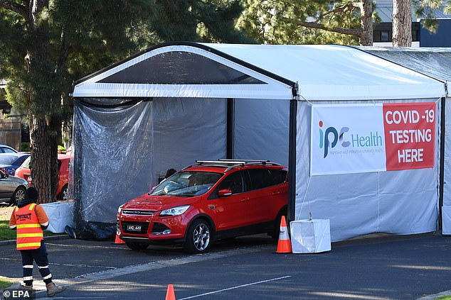 A makeshift drive-through testing facility in Keilor in Melbourne's west on Wednesday