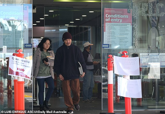 People visited a Brimbank library on Wednesday hours before it was to be locked down