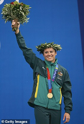 Chantelle Newbery on the dais after winning gold at the 2004 Olympics