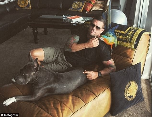 The drug smuggling conspirator reclines on a luxury couch with an exotic bird and a dog prior to his arrest, above