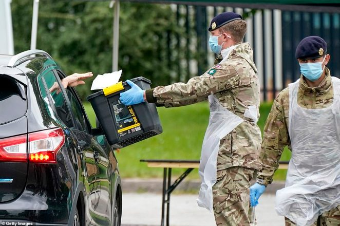 Soldiers from the Royal Logistics Corp operate a mobile coronavirus testing site at Evington Leisure Centre in Leicester today, with one pictured carrying a box for drivers to put their Covid-19 swabs in