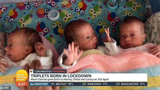 The triplets are pictured at home after spending a few weeks in hospital, as they were so small