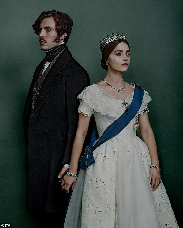 On-screen to real life: The thespian is currently spending the UK coronavirus lockdown with her boyfriend Tom Hughes, with whom she starred in ITV's Victoria (pictured)