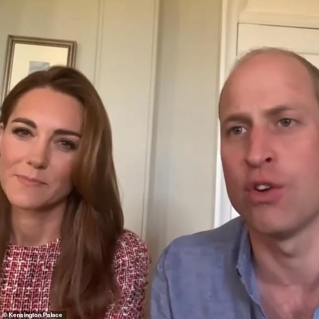 The video call took place on June 23 but was released today to coincide with Canada's national day, which is celebrated each year on July 1. Pictured, the couple on the call