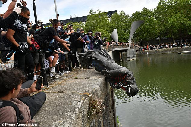 The bronze memorial to Edward Colston was pulled down during a Black Lives Matter protest on June 7, before being dumped in Bristol Harbour