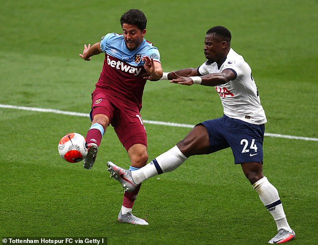 Aurier challenges West Ham midfielder Pablo Fornals in last week's Spurs victory