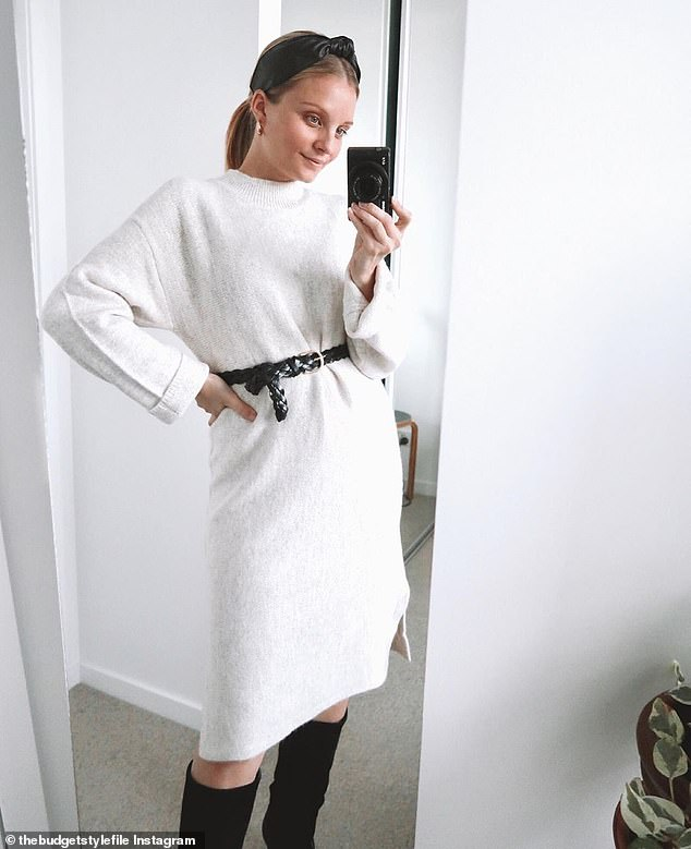 Jess Allen wears the $25 Kmart Crew Neck dress cinched with a Kmart belt and a pair of Country Road over-the-knee boots