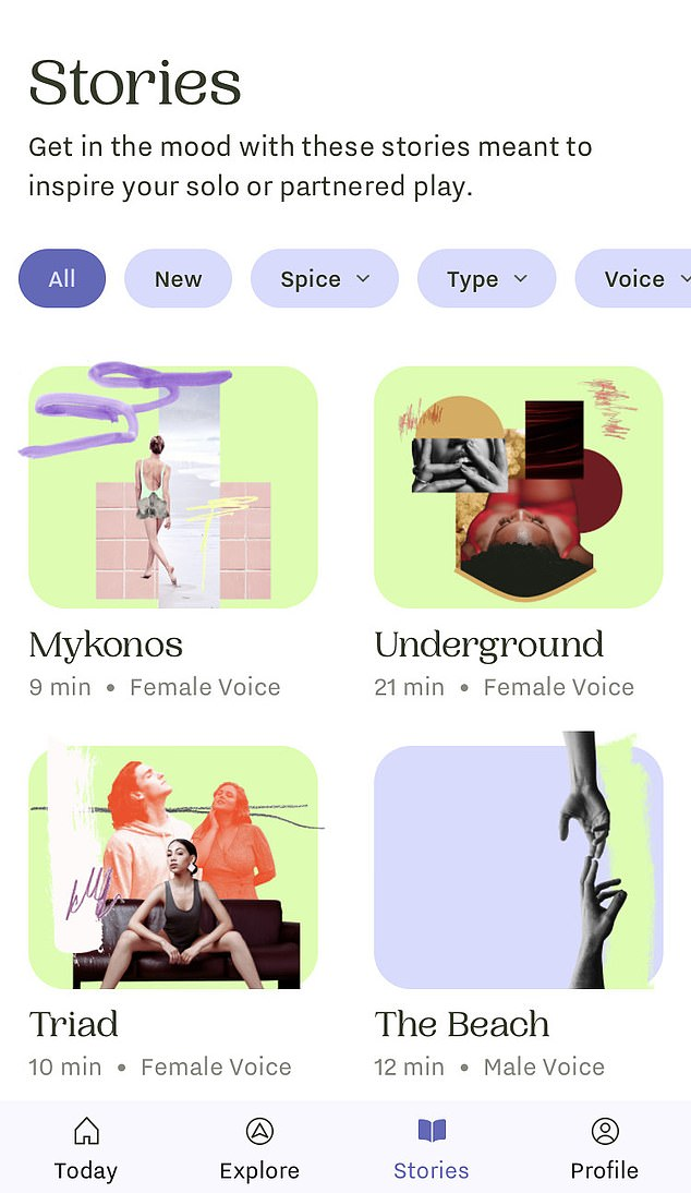 Ferly features a range of stories designed to get users 'in the mood' through 'solo or partnered play' where listeners can choose a female or male voice for the audio