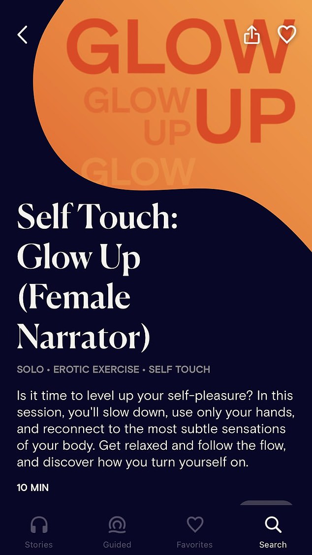 In a 10-minute Dipsea solo session titled, 'Self Touch: Glow Up', a female narrator guides the user through their body and to tap into unexplored areas