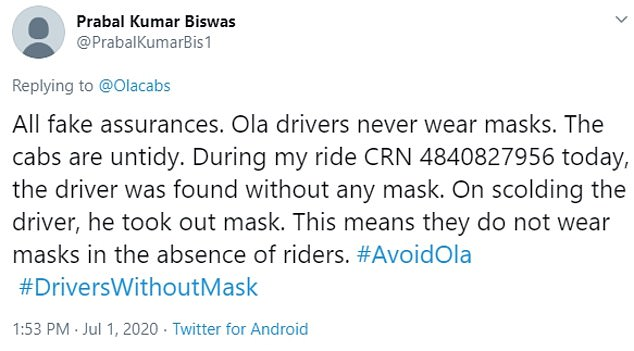 And it seems the issue isn't unique to Uber. A London taxi driver who tweets under the username @glenda_hoddle claimed to have seen 'scores' of private hire drivers from the likes of Uber, Ola cabs and Kapten 'not wearing masks'