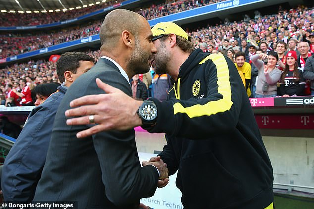 The two managers exchange a word ahead of a Bayern v Dormtund clash in April 2014