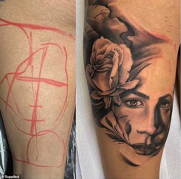Body art:The buxom stunner also has a portrait of a lady adorned with a rose on the back of her left thigh.Arabella said she found this design online and was immediately obsessed with it