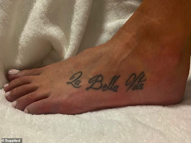 Humble beginnings: Arabella's tattoo journey begun at the tender age of 22, with the words 'La Bella Vita' inked on her left foot