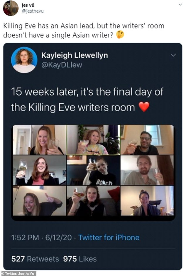 Executive Producer Sally Woodward Gentle, has responded to online criticism surrounding the diversity of Killing Eve's writing room (pictured)
