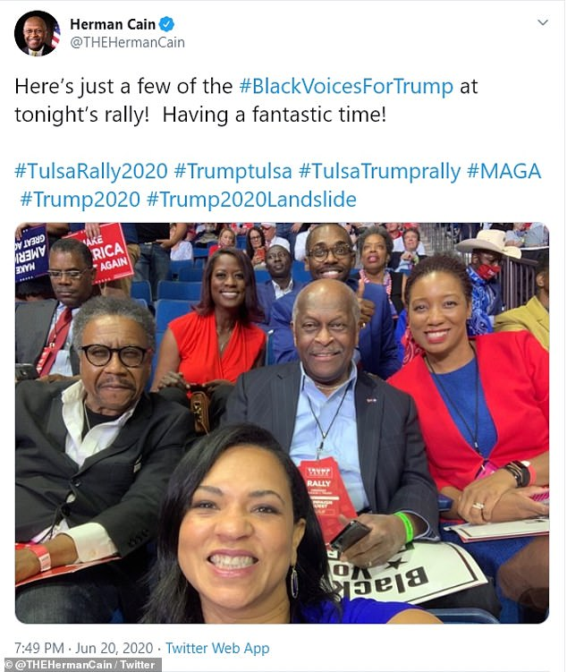 Herman Cain died of COVID-19. He attended President Trump's June 20 rally in Tulsa, where he tweeted the photo above