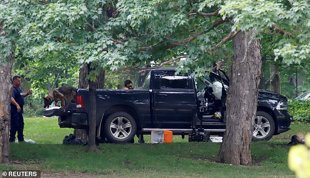 A Dodge Ram is parked at Rideau Hall, the estate where Canada PM Justin Trudeau lives, after police say an armed man entered the grounds early on Thursday