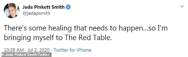 Scandal: On Thursday, the actress, 48, took to Twitter to reveal that she will be putting herself on her Emmy-nominated Facebook Watch series Red Table Talk to discuss the explosive claims, as she admitted 'healing that needs to happen'