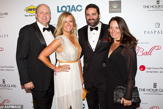 Billy Brownless and Nicky Brownless (left) with Gary Lyon and Melissa Lyon (right) in 2012. Lyon famously started a relationship with Nicky - Billy Brownless' wife of 18 years