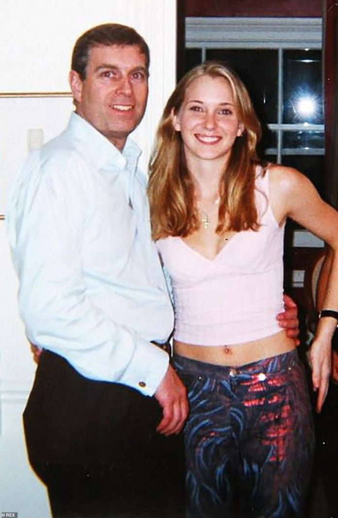 Prince Andrew and Virginia Roberts, 17, at the house of Ghislaine Maxwell in London, Great Britain, March 13, 2001