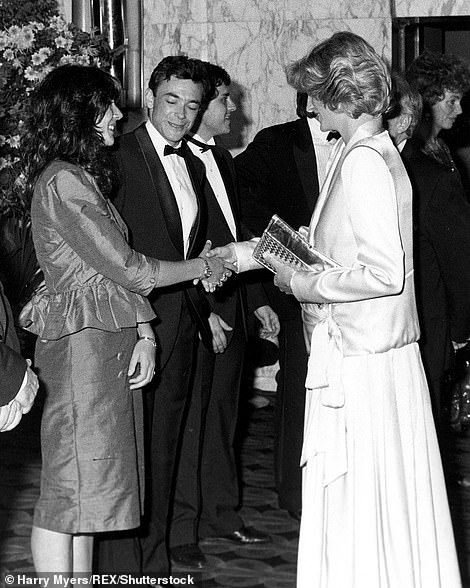Maxwell is pictured meeting Princess Diana in 1984. Maxwell used his impeccable social connections, such as his friendship with the prince, to introduce Epstein, the son of a gardener, to society.