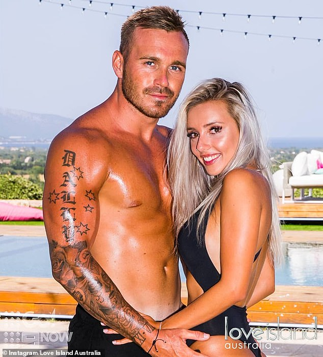 Former flames: In 2018, Erin was coupled up with now ex-boyfriend Eden Dally (left) on Love Island and they made it to the grand finale together