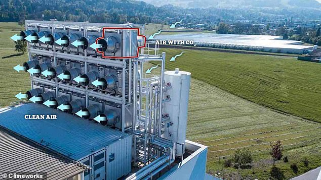 Pictured is a Climeworks carbon sucking plant in Switzerland. DAC grids like this one are made up of individual, stackable filters known as 'collectors'