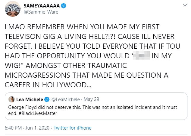 Remember me? The message was met with an acerbic response from former co-star Samantha