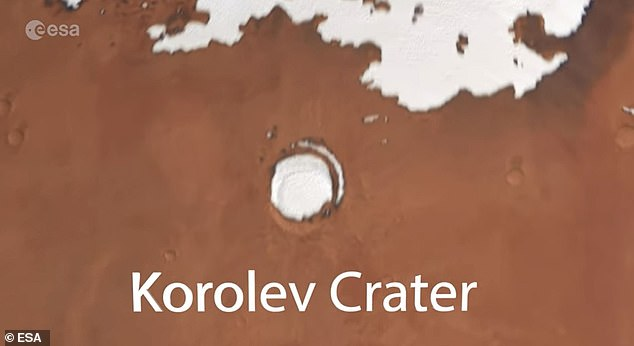 It begins with a snapshot of Mars circling in the dark abyss that is space and then we see a white speck in the dust planet, which is Korolev crater