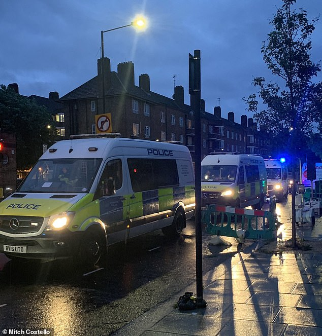 Several police vans carrying back up were sent to the scene in White City, west London
