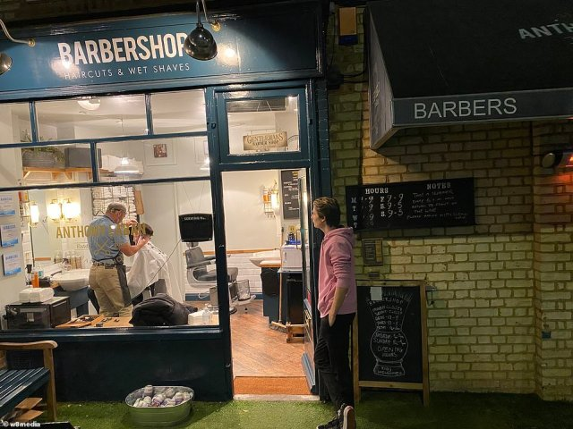 The Anthony Laban Barbershop in Battersea re opened just past midnight