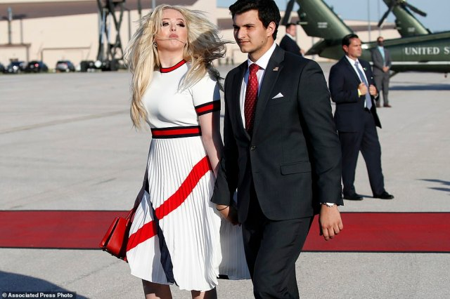 Tiffany Trump and her boyfriend Michael Boulos arrive with President Donald Trump on Air Force One at Ellsworth Air Force Base