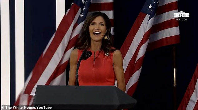 South Dakota Gov. Kristi Noem pointed out how the packed crowd at Mount Rushmore was from 'everywhere around this nation'