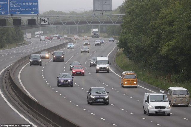 Traffic on the M25 motorway in Kent this morning as 'Super Saturday' gets underway, with booking websites reporting an increase in traffic as holidaymakers looking to make their getaway within the UK