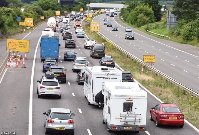 The M5 in Exeter, which was swamped with camper vans and caravans heading to the coast this morning as tourists getaway as hotels, restaurants and pubs re-open with people being able to stay overnight or longer in England
