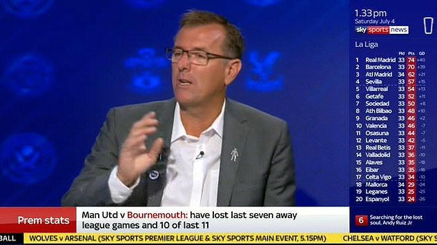 Matt Le Tissier revealed he had only worn the BLM badge after being told to by Sky bosses
