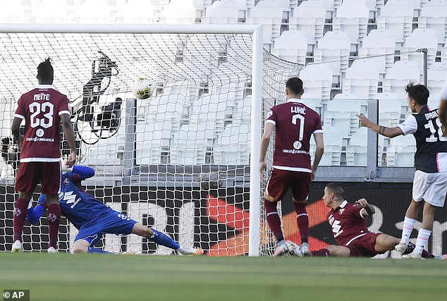 Argentina star Paulo Dybala (right) scores the opener to put Juventus ahead at home to Torino