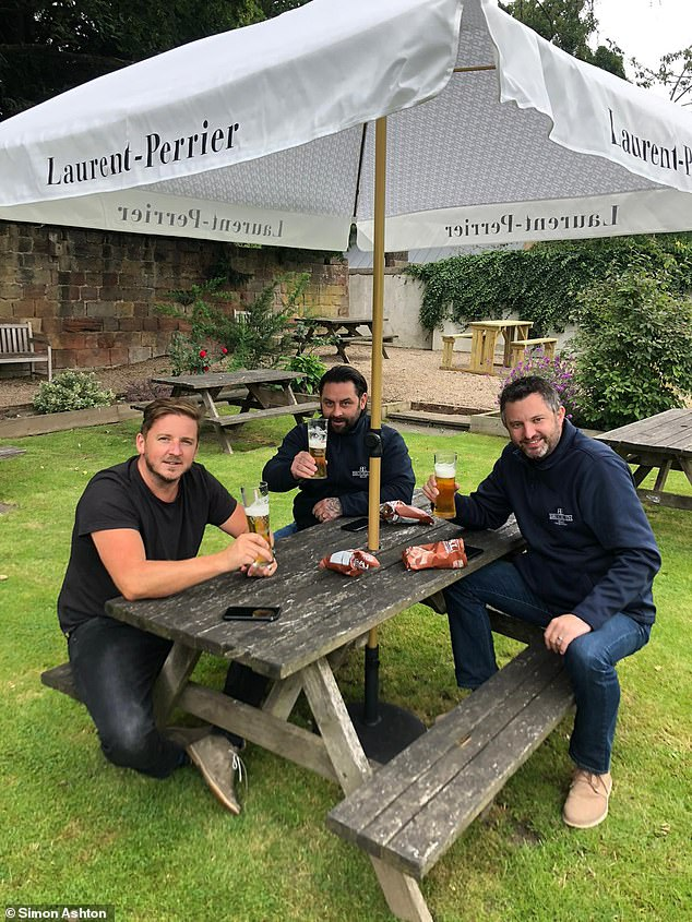 The White Hart in Duffield, Derbyshire, reopened its doors for the first time since lockdown, with contractors Ashley Lunn, Jon and Simon Ashton enjoying a beer