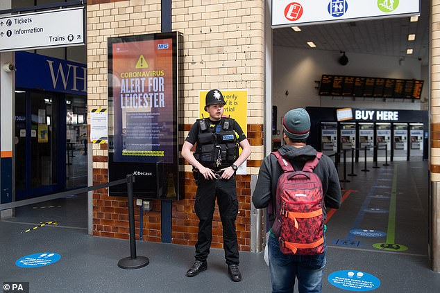 Officers were inside Leicester railway station on Thursday and Friday (pictured) to make spot checks on travellers to ensure people were adhering to the rules