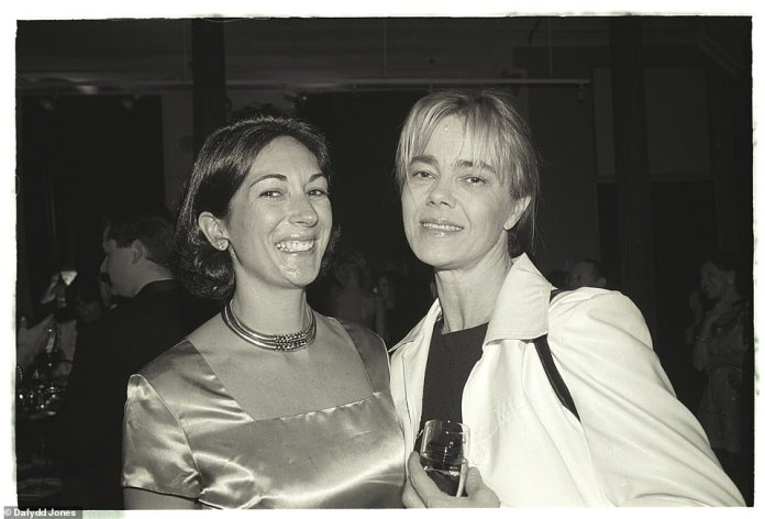 Absolutely fabulous: Ghislaine Maxwell (left) pictured with public relations guru Nadine Johnson (right) at an event in 1996 in New York