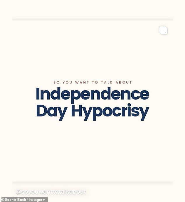 Enlightenment:Like many other stars, Sophia Bush attempted to enlighten her following by resharing resources that explain the 'hypocrisy' of Independence Day