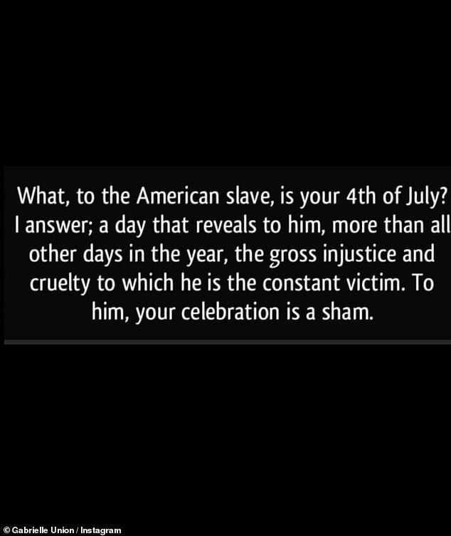 Perspective:The 47-year-old Bring It On star's second reshare - written by anonymous - detailed what the Fourth Of July is to 'the American slave'