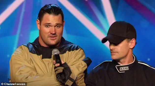 Scary stuff!Former Bachelorette star and magician Apollo Jackson (left) performed a dangerous escape stunt for his audition on the talent show in 2019