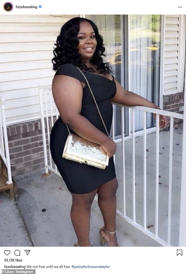Say Her Name:Lizzo posted a photo of Breonna Taylor, an African-American woman who tragically died at the hands of police earlier this year