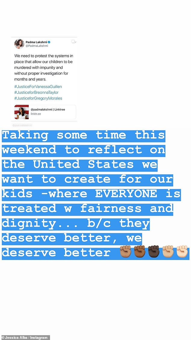Reflecting: Jessica Alba - who reposted a tweet by Padma Lakshmi - stated on Instagram that she is 'using this weekend to reflect on the United States we want to create for our kids'