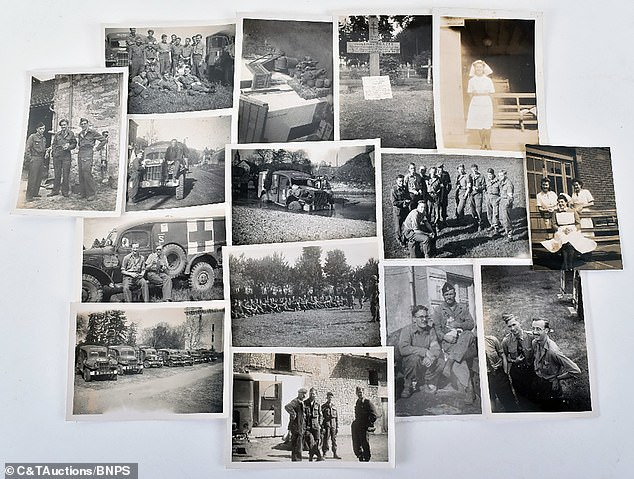 Mr Spray kept other documents and photographs, including the grave of fellow medic David Frazer (top row, second right), who died trying to save a soldier in Strasbourg in February 1945