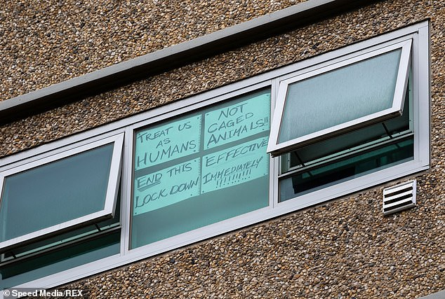 Hanson said refugees who fled war-torn countries should be able to deal with being locked up. (Pictured:Angry tower residents place signs in their windows showing messages of despair amid total lockdown)