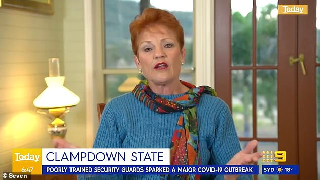Hanson argued other Australians have also been through a similar lockdown, and said it is no different to the housing commission quarantine