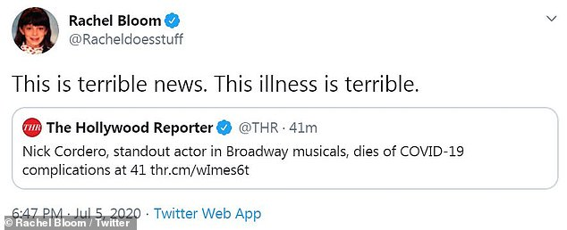 Terrible:Crazy Ex-Girlfriend star Rachel Bloom deemed the news of Nick's passing as 'terrible' and voiced her frustration with the virus, as a whole
