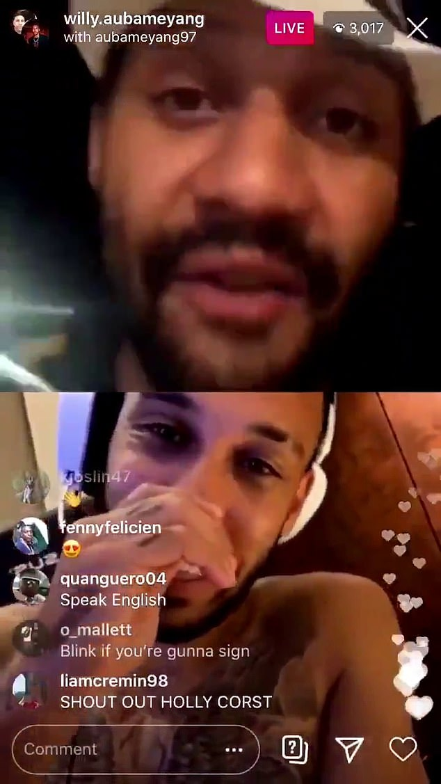 Aubameyang had driven Arsenal fans crazy during a live Instagram video with his brother Willy