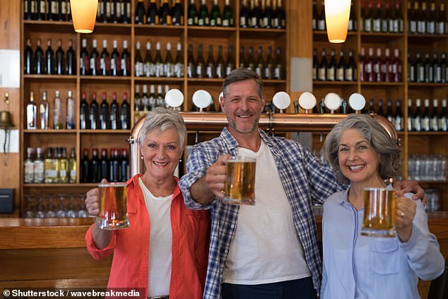 One in five people aged over 55 years of age admit to feeling peer pressured into drinking more alcohol than they otherwise would, a survey has found (stock image)